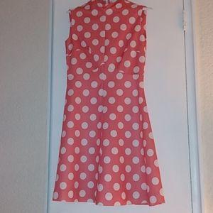 Vintage 60s polka dot mini dress pink and white